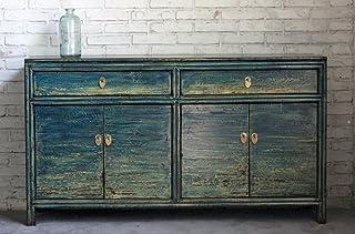 OPIUM OUTLET - Cómoda/aparador Chino de Tipo Armario Estilo Colonial y Shabby Chic Vintage Color Azul - Midblue