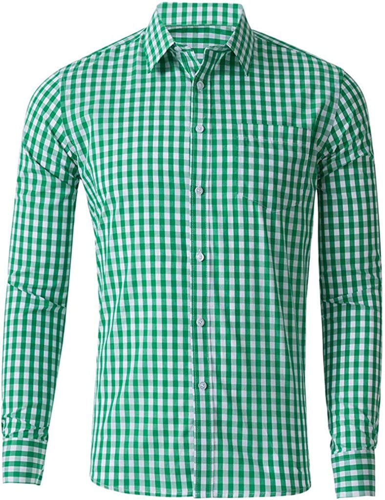 YAYUMI Men's Plaid Shirt Printed Pocket Long Sleeve Fashion Casual Top Button Lapel Cardigan Green