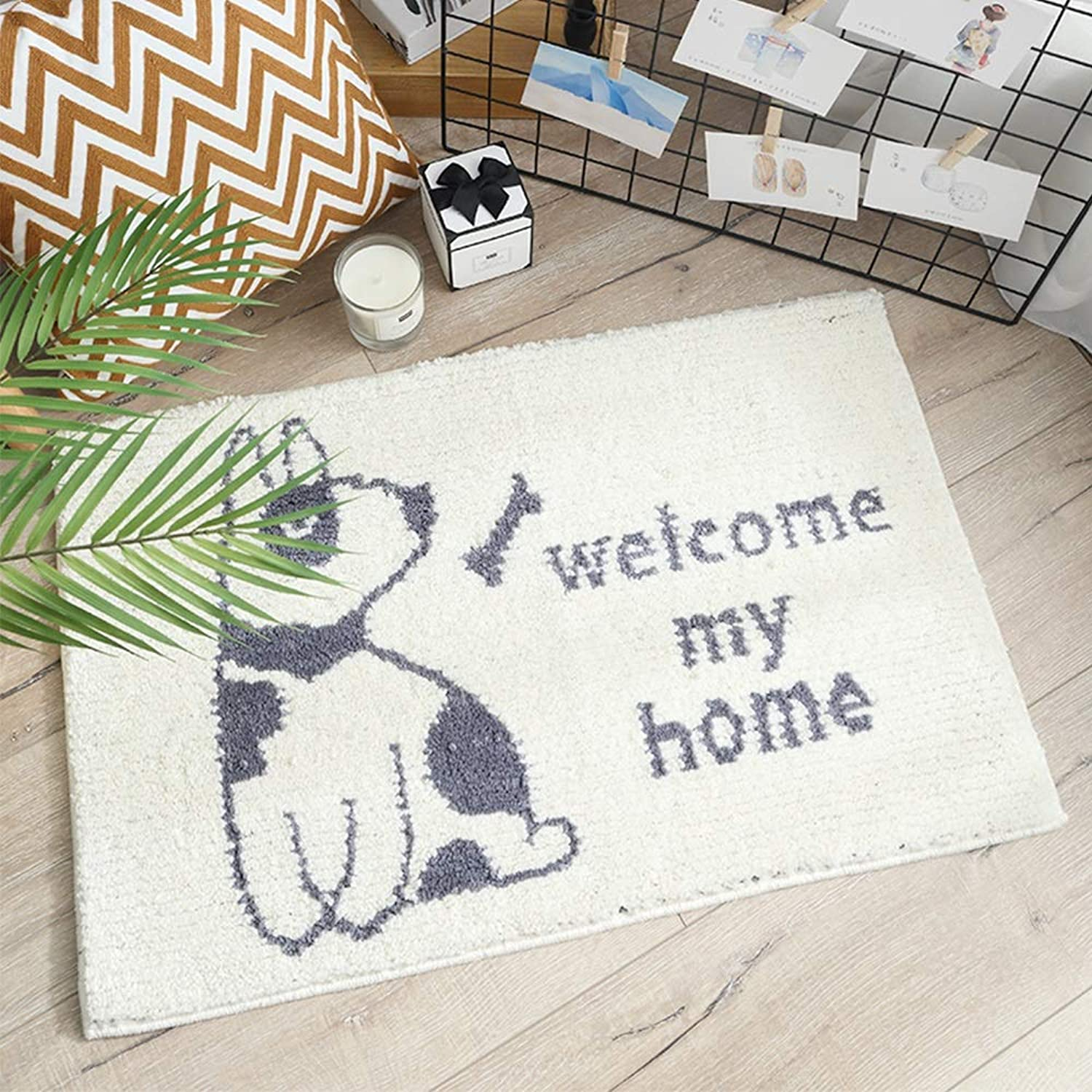 MING REN Floor mat Polyester Fabric Non-Slip Latex Sole, Absorbent and Non-Slip, Comfortable, Simple and Versatile, Household Bathroom Kitchen Bedroom Absorbent pad Floor mat Bathroom
