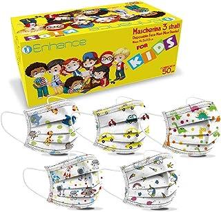 enhance Mascherine Misura per Bambini 50 PZ 3 Strati Dispositivo di Classe I Tipo II,Confezione da 50 PZ Colore (fantasi...