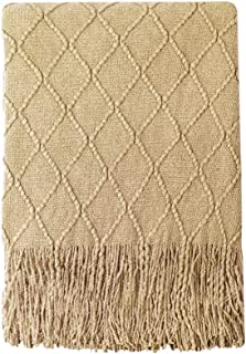"Bourina Throw Blanket Textured Solid Soft Sofa Couch Decorative Knitted Blanket, 50"" x 60"", Mustard"