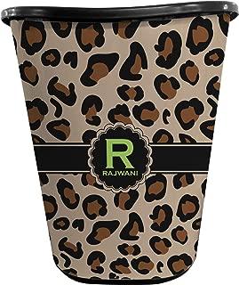RNK Shops Granite Leopard Waste Basket - Single Sided (Black) (Personalized)