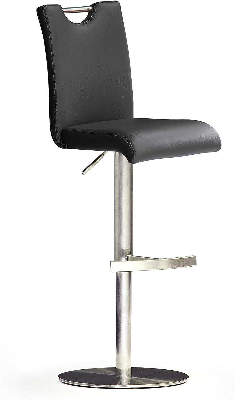 Robas Lund, Stuhl, Barstuhl, Barhocker, Bar.do, 360 Grad drehbar, Edelstahl schwarz, 50 x 42 x 116 cm, BARE10SX