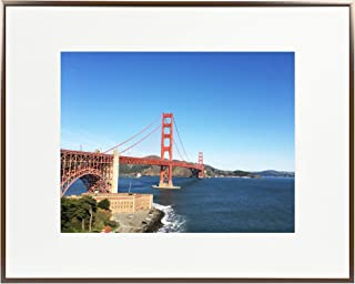 Frametory, 16x20 Metal Picture Frame Collection, Aluminum Photo Frame with Ivory Color Mat for Picture & Real Glass (Dark Brown)