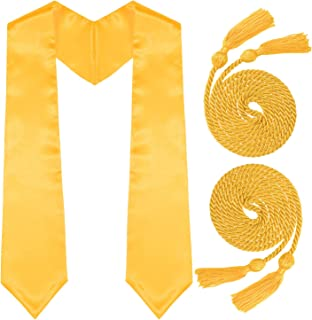 Whaline Gold Graduation Stole and 2Pcs Honor Cord with Tassel for Graduation Day and Graduates Photography