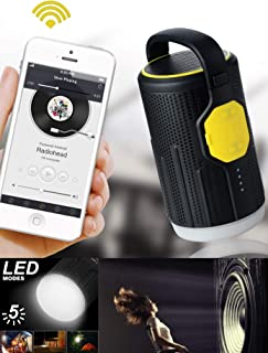 Portable Bluetooth Speaker with Camping Lantern and Power Bank - Flashlight Bicycle Light - Hiking & Camping Gear - Emergency & Hurricanes Lantern - LED Lantern for Outdoor Sports