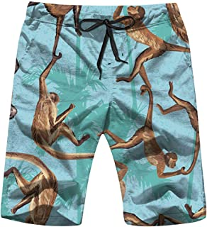 Monkey Jungle Realistic Animals Wildlife Men's Swim Trunks and Workout Shorts Swimsuit or Athletic Shorts - Adults Boys