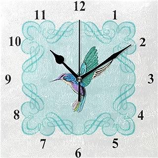 ヴィンテージのエレガントなハチドリ スクエア壁時計 時計 掛け時計 壁掛け 20cm 個性的でおしゃれなデザインクロック クール かっこいい 角型 四角