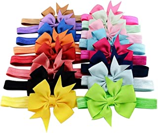 Flyme 16x Baby Girls Headbands Ribbon Hair Bow Tie Hair Bands(Random Color)