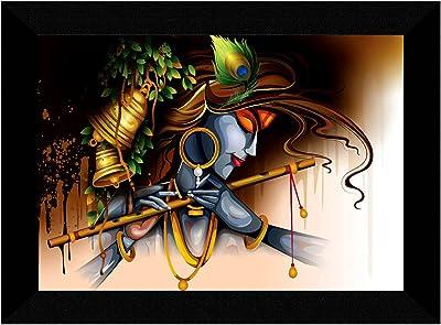 SAF Krishna ji multi-effect UV Textured Home Decorative gift item Framed Painting 10 Inch X 13 Inch SANFK30842