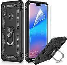 LeYi Custodia Huawei P20 Lite Cover, 360° Girevole Regolabile Ring Armor Bumper TPU Case Magnetica Supporto Smartphone Silicone Custodie con HD Pellicola per Huawei P20 Lite Case Nero