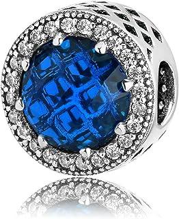 DFHTR Perles Creuses en Argent Sterling 925 Perles De Zircon Bleu Marine Accessoires pour Femmes Fit Original Charms Brace...