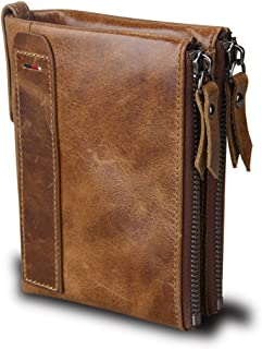 Men RFID Blocking Wallet Small Vintage Crazy Horse Leather Short Purse Bifold