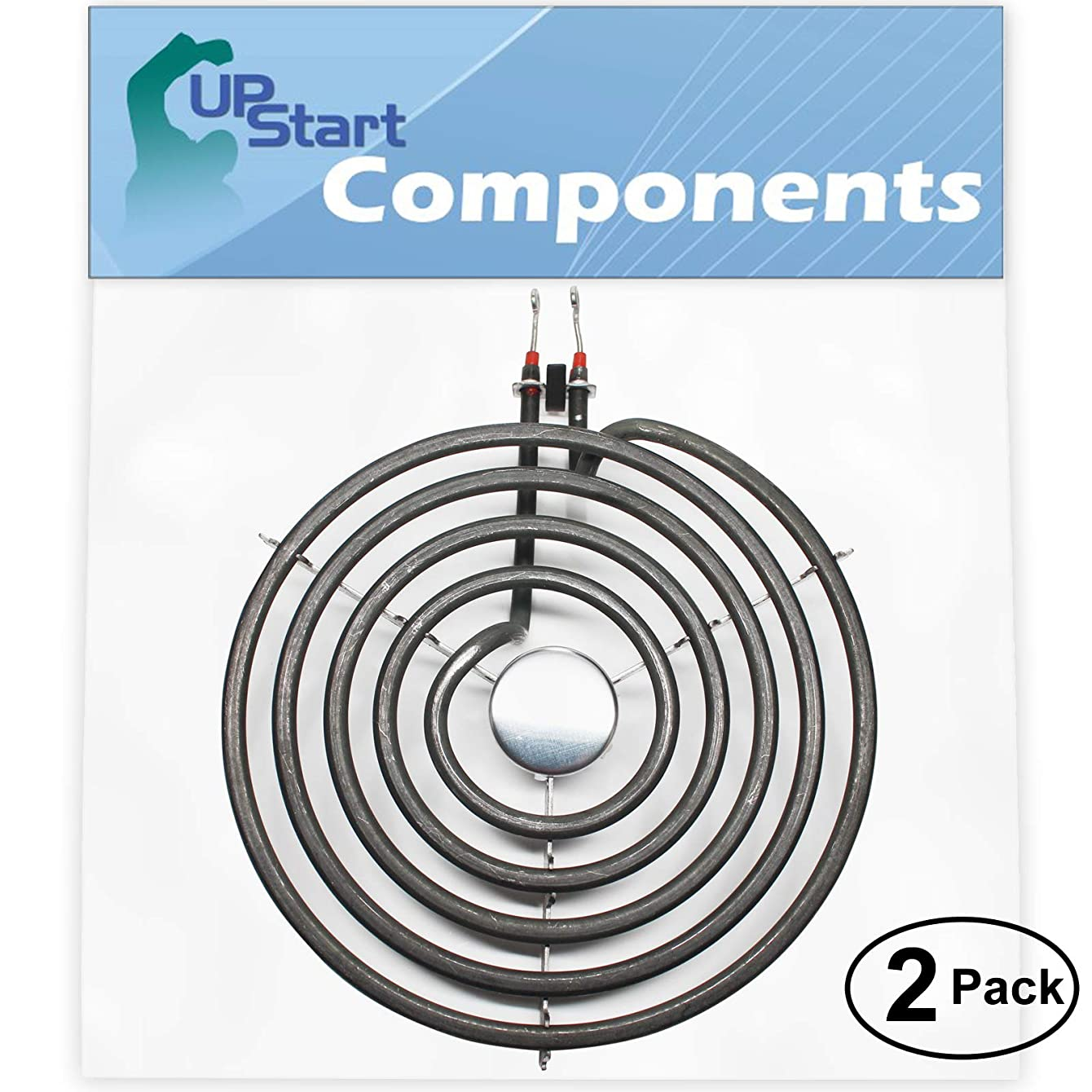 2-Pack Replacement Whirlpool RF315PXGW1 8 inch 5 Turns Surface Burner Element - Compatible Whirlpool 9761345 Heating Element for Range, Stove & Cooktop