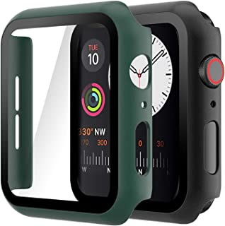 Hianjoo (2 Pack) Case Compatible with Apple Watch SE Series 6 Series 5 Series 4 44mm, Built-in HD Tempered Glass Screen Protector Overall Cover Replacement for iwatch Series 6/5/4/SE, Black/Dark Green