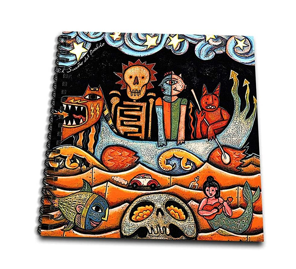 3dRose The Devil S Dream Folk Art Skulls Mexican Colorful Surrealism-Memory Book, 12 by 12