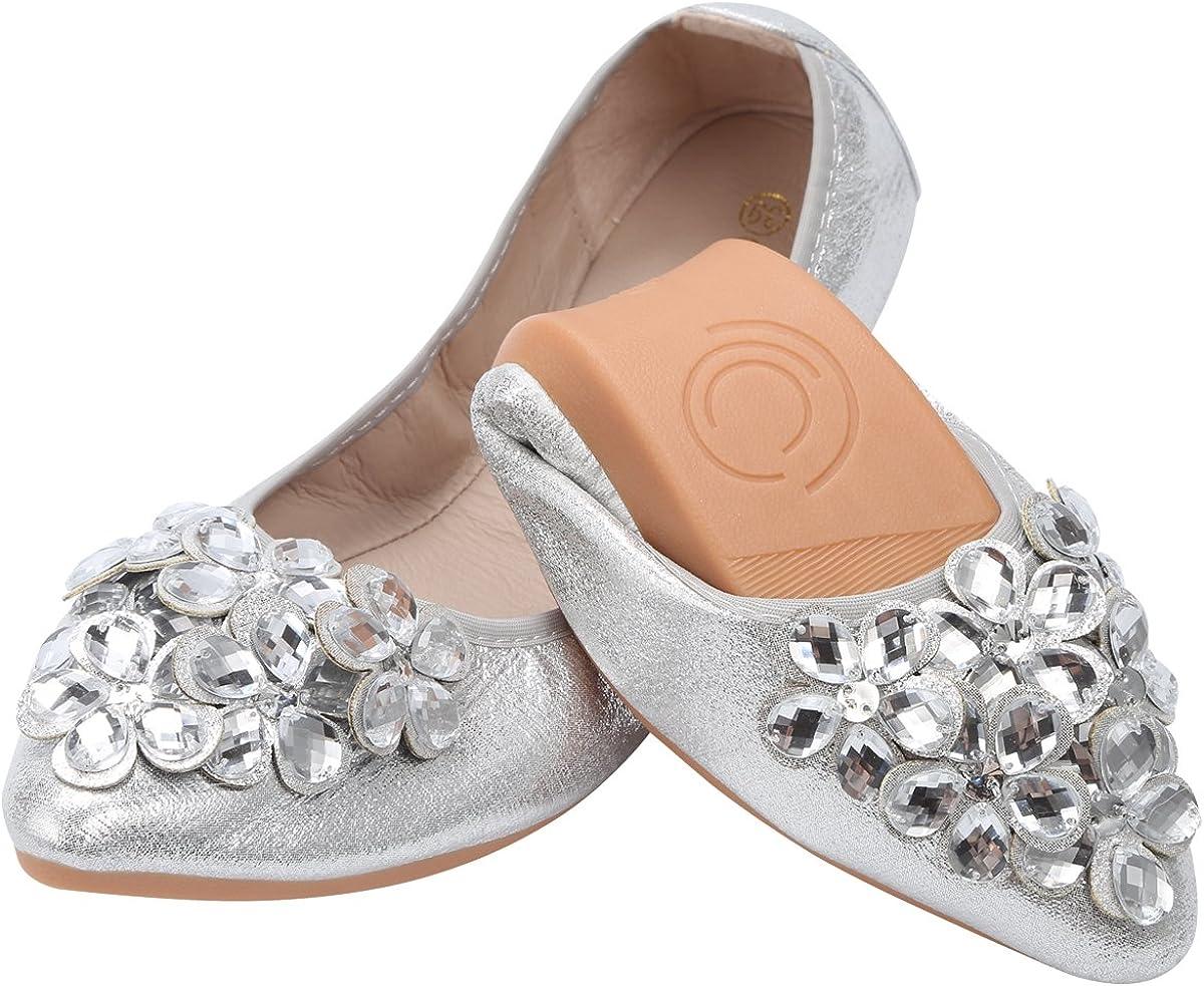 KUNWFNIX Women Ballet Flats Rhinestone Wedding Ballerina Shoes Foldable Sparkly Comfort Slip on Flat Shoes