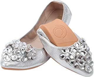 Women Ballet Flats Rhinestone Wedding Ballerina Shoes Foldable Sparkly Bridal Slip on Flat Shoes