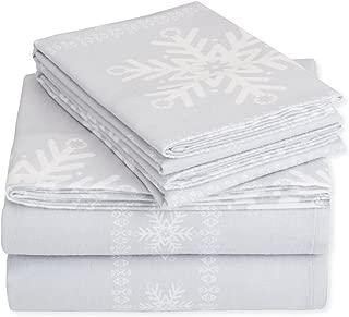 Pinzon Cotton Flannel Bed Sheet Set - Full, Snowflake Grey