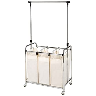 Seville Classics Mobile 3-Bag Heavy-Duty Laundry Hamper Sorter with Clothes Rack Cart, Chrome