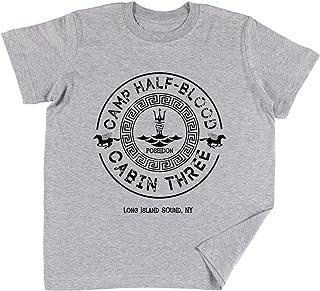 Percy Jackson - Camp Half-Blood - Cabin Three - Poseidon Bambini Ragazzi Ragazze Unisex Maglietta Grigio