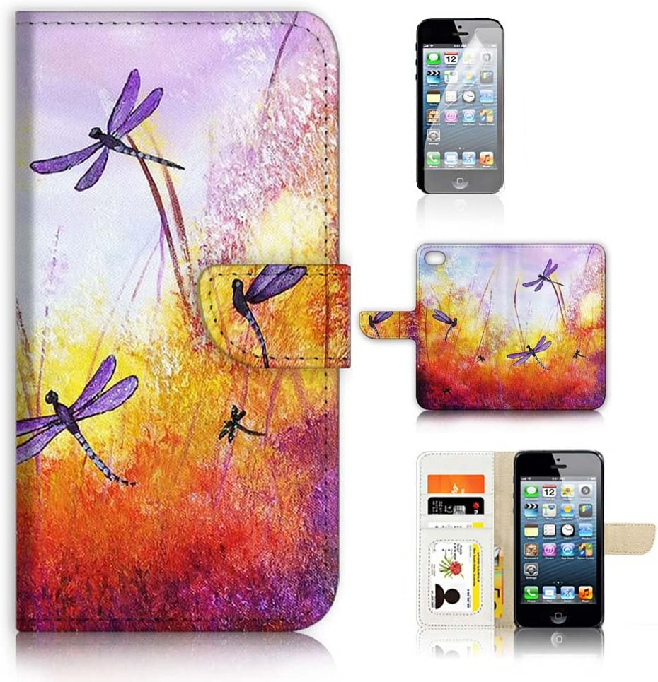 (for iPhone 6 Plus/iPhone 6S Plus) Flip Wallet Case Cover & Screen Protector Bundle - A21092 Dragonfly