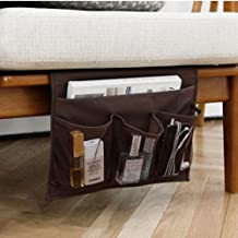 HAKACC Bedside Caddy/Bedside Storage Organizer,Remote Control Holder Armchair Organizer Couch Caddy Sofa Armrest Bag for Tablet Magazine Phone Remotes, Brown