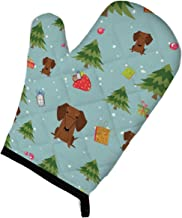 """Caroline's Treasures BB4790OVMT Christmas Dachshund Red Brown Oven Mitt, 12"""" by 8.5"""", Multicolor"""