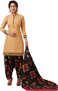 S Salwar Studio Women's Beige & Black Cotton Printed Readymade Patiyala Suit Set-SSCELEBRATION-1012