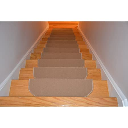 Stair Treads Collection Bullnose 10 Inch X 26 Inch Beige Set Of 15 Indoor Skid Slip Resistant Carpet Stair Treads With Adhesive Strips