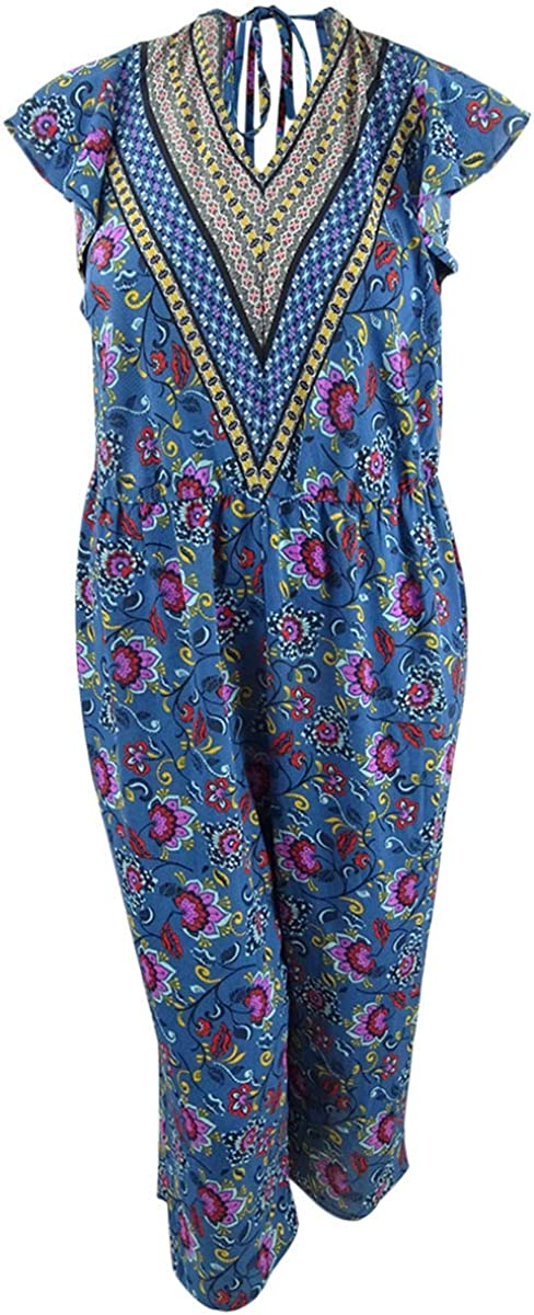 Love Squared Womens Plus Printed Cropped Jumpsuit