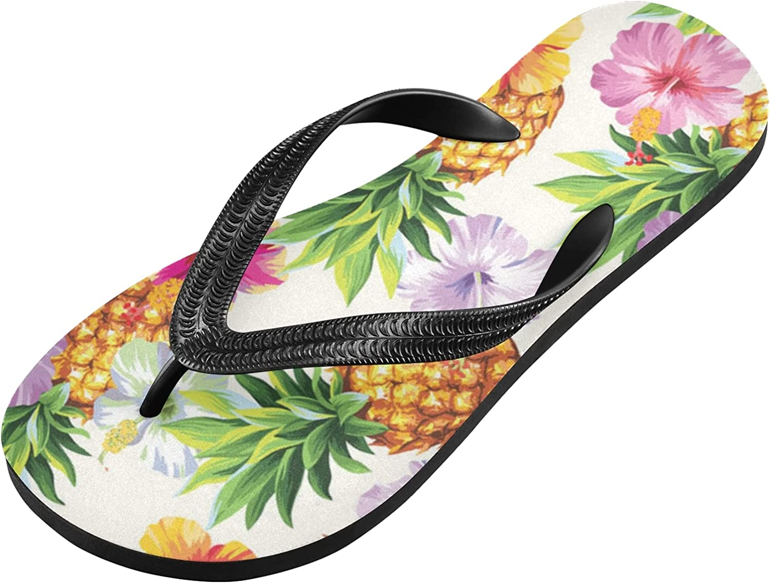 Qilmy Beautiful Tropical Fruit Pineapple Colorful Flowers Summer Flip Flop Casual Lightweight Non-slip Sandals Women's Men Slippers,S