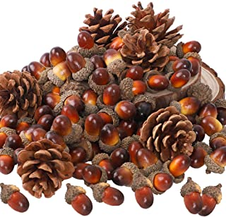 AGEOMET 160pcs Artificial Acorns and Pinecones Set Hanging Ornaments for Autumn Thanksgiving Christmas Décor