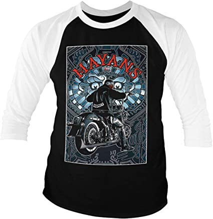 504b86f1 Mayans M.C. Officially Licensed EZ Poster Baseball 3/4 Sleeve T-Shirt (Black