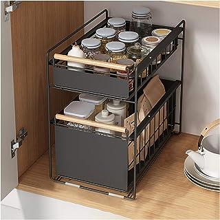 LPing Organisateur sous évier,paniers coulissants à 2 Niveaux,paniers coulissants en Filet,étagère à tiroirs,Organisateur ...