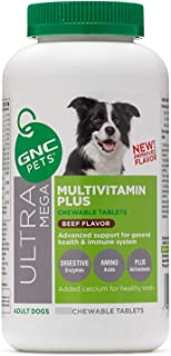 GNC Pets Ultra Mega Multivitamin Plus for Adult Dogs - Beef Flavor 180 chewable tablets.