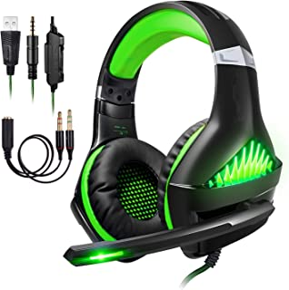 ShinePick Cascos para Xbox One, Auriculares Gaming PS4 con Micrófono Graba Tu Voz 3.5mm Puerto Compatible con Xbox One PC ...