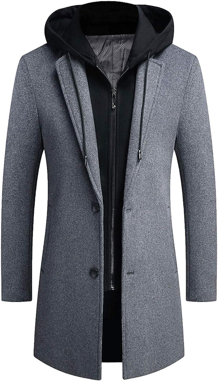 ebossy Men's Notch Lapel Single Atlanta Mall Breasted Oakland Mall Blend wit Coat Wool Top