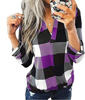 Soluo Women 3/4 Roll Sleeve Plaid Shirts V Neck Tunic Blouses Loose Casual Tshirts Pullover Tops Blouse Shirt