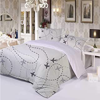 Grey Decor Warm 3 Piece Bedding Set,Airline Route Map Flight Jet Destination Control Fly Theme Textured Travel Trip for Room,Queen