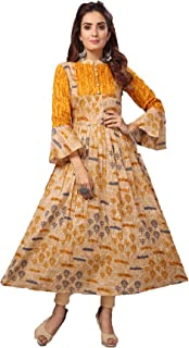Madhuram Textiles Women's Flower Printed Cotton Anarkali Layered Long Kurti (Yellow)