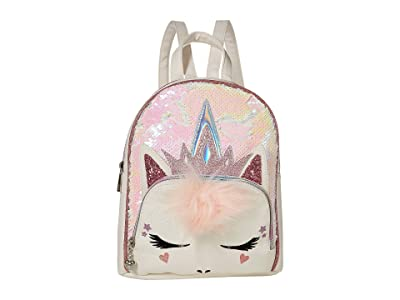 OMG! Accessories Queen Unicorn Sequins Mini Backpack (White) Backpack Bags