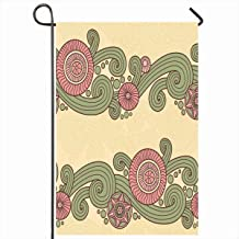 Ahawoso Garden Flag 12x18 Inches Doodle Border Pattern Abstract Color Zentangle Coloring Graphic Hand Line Design Outdoor Seasonal Home House Yard Sign Double Sides Printed Banner