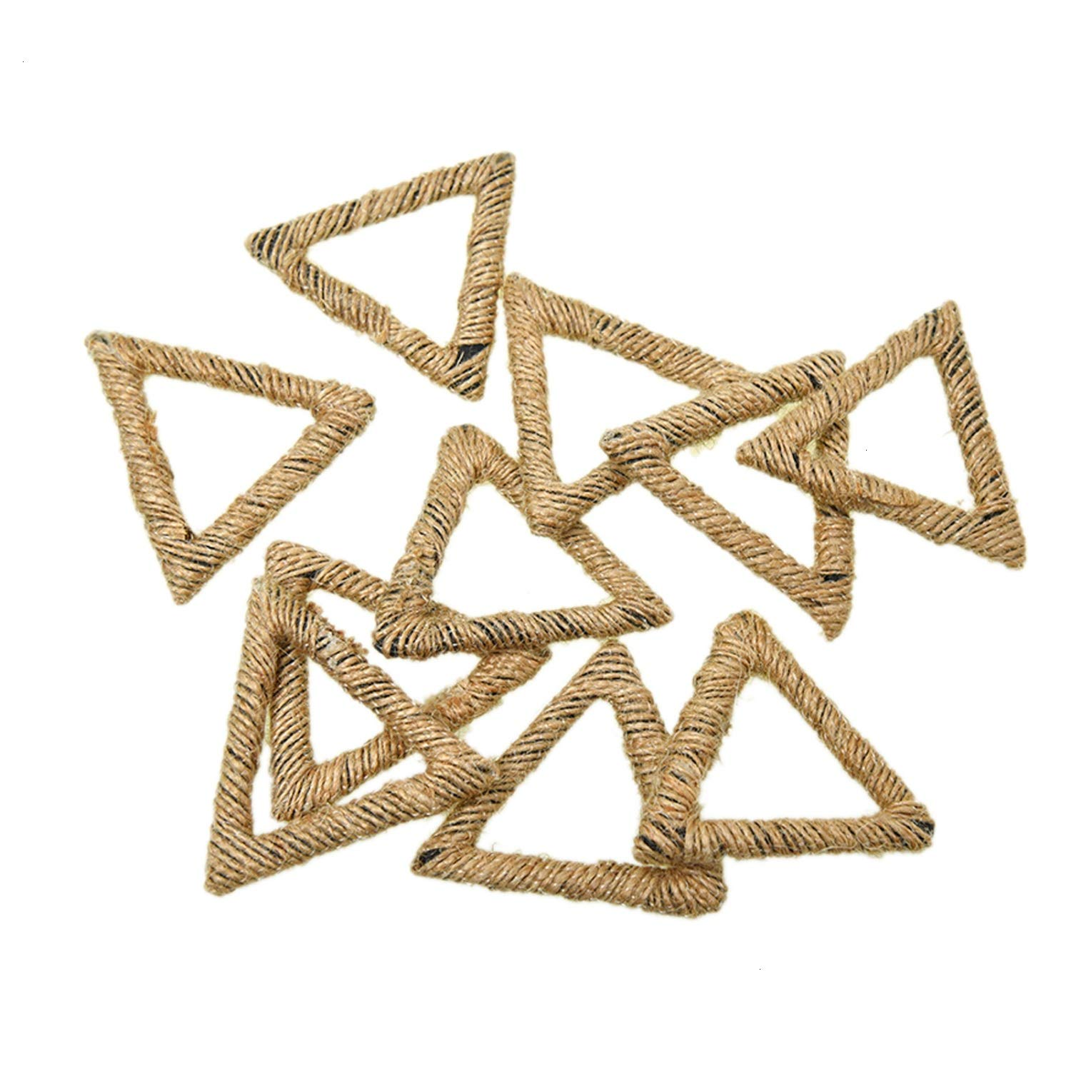Monrocco 10 Pieces Burlap Jute Hemp Wire Line Triangle Charm Pendant for Earring Craft Making DIY Ear Jewelry Fingdings
