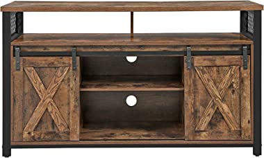 VASAGLE TV Stand for 55-inch TVs with Sliding Barn Doors, Entertainment Center and Media Console, TV Cabinet with Adjustable