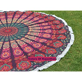 """colors of rajasthan COR's Hippie Mandala Tapestry Round Roundie Wall Hanging Beach Towel Throw Yoga Mat Round Tapestry 72"""""""