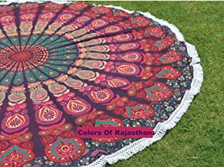 colors of rajasthan COR's Hippie Mandala Tapestry Round Roundie Wall Hanging Beach Towel Throw Yoga Mat Round Tapestry 72