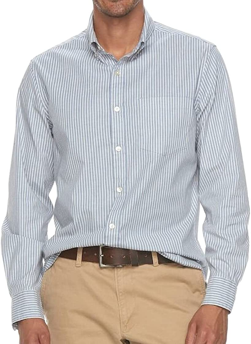 Sonoma Mens Classic Fit Stretch Casual Summer Shirt Blue Stripe Size