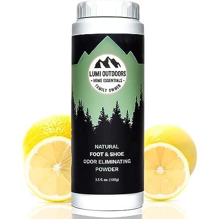 Natural Foot Powder Deodorizer & Shoe Odor Eliminator - Talc Free Foot Deodorant by Lumi Outdoors