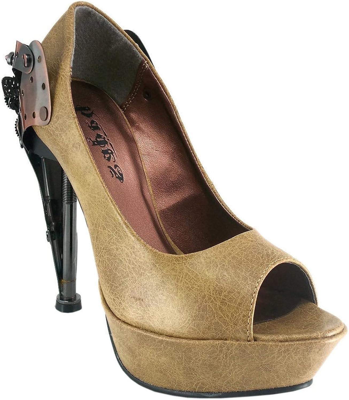 Hades shoes - Titan Stiletto Steampunk Platforms 3.5   Mustard